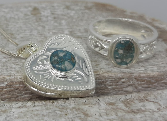 Sterling Silver Cremation ashes Heart Locket and Banded filagree ring