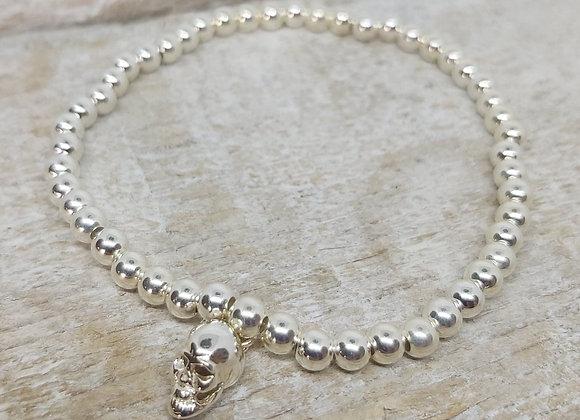 Benny&Moo round beaded bracelet with skull charm