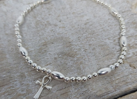 Benny&Moo Seed and bead bracelet with Ankh charm