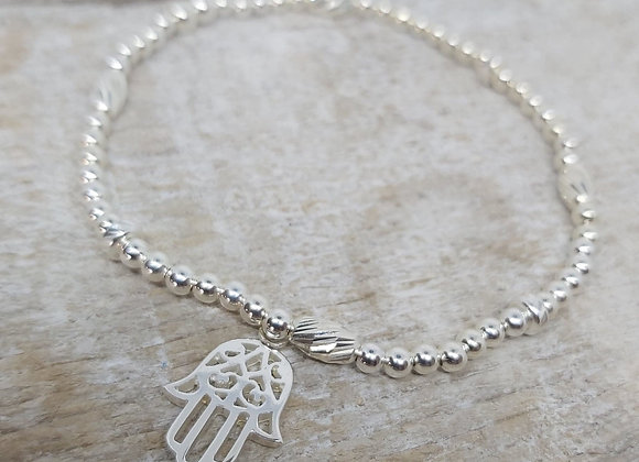 Benny&Moo faceted seed and round beaded bracelet with Hamsa Charm