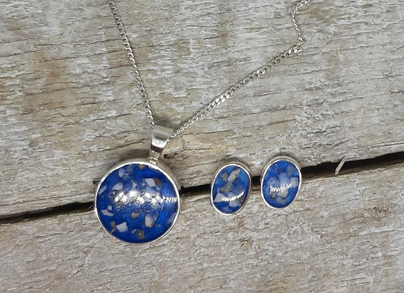 Sterling Silver Cremation ashes circular pendant and earrings