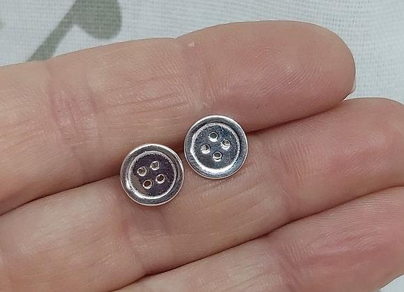 Cute as a Button Stud Earrings in Sterling Silver
