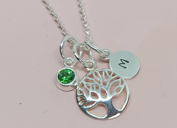 Birthstone, family tree and initial charm necklace in Sterling Silver