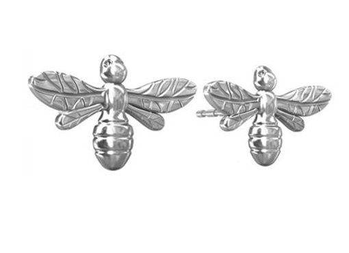 Manchester Bee Stud Earrings in Sterling Silver