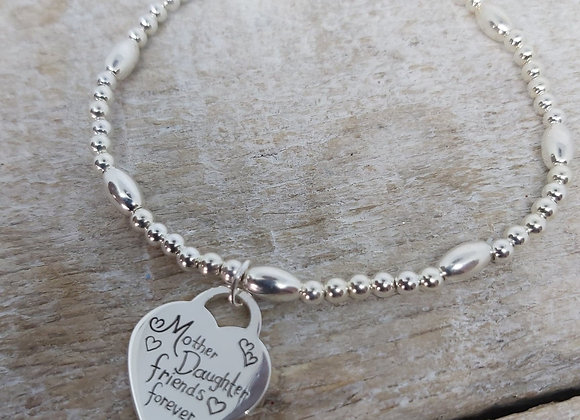 Benny&Moo Seed and bead bracelet with Mother & Daughter tiffany style charm
