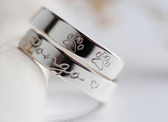 Dog or Cat Paw print, Horse Sterling silver wrap ring. Adjustable hand stamped.