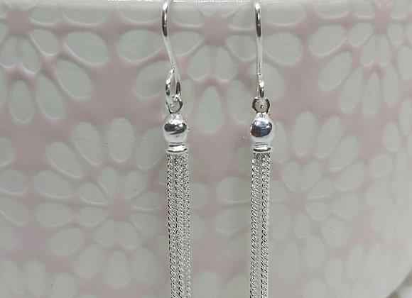 Curb chain Tassel Drop Earrings in Sterling Silver