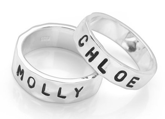 Personalised Stamped Silver band ring
