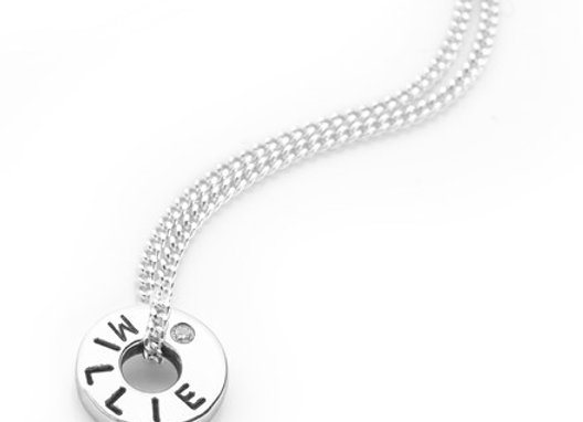 Personalised petite ring Sterling Silver hand stamped necklace