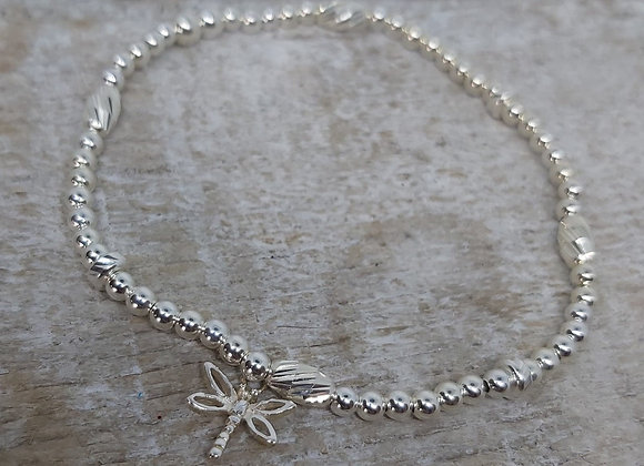 Benny&Moo faceted seed and round beaded bracelet with Dragonfly Charm