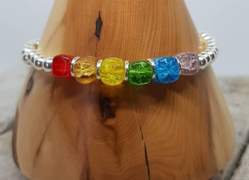 Sterling silver beaded bracelet with rainbow beads