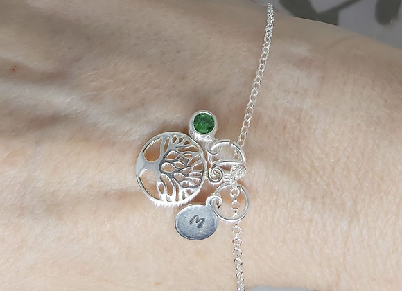 Birthstone, family tree and initial charm bracelet in Sterling Silver