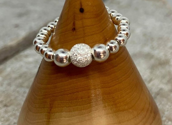 Sterling silver beaded ring with stardust focal bead