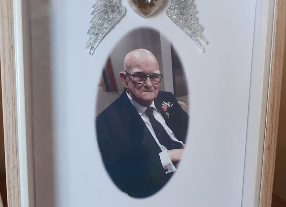 Memorial picture and ashes frame with ashes, hair or burial soil