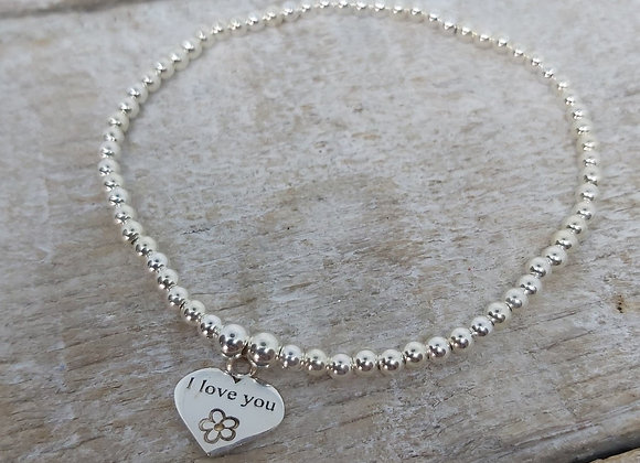 Benny&Moo round beaded bracelet with I Love You heart  charm