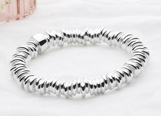 Sterling silver linked expandable bracelet