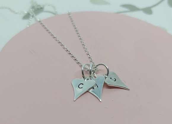 Hand stamped Hearts personalised initial necklace in sterling s