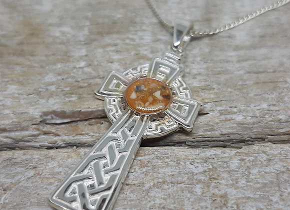 Sterling Silver Cremation ashes celtic cross Pendant