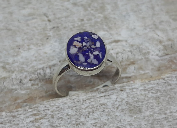 Sterling Silver Cremation ashes oval band ring
