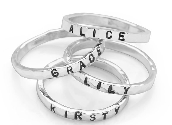 Personalised Stamped Silver stacking ring