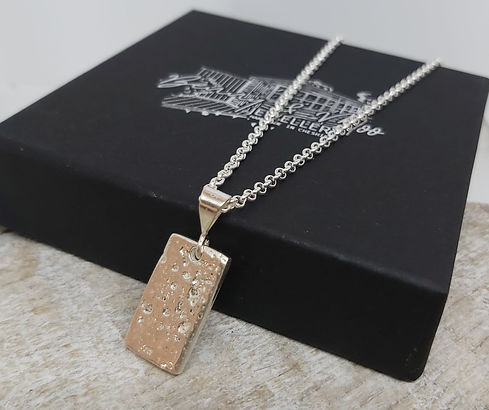 ashes to silver rectangle pendant with b