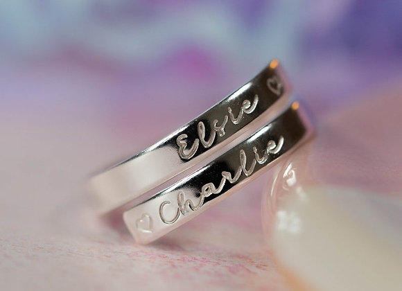 Sterling silver wrap ring. Adjustable hand stamped two name ring