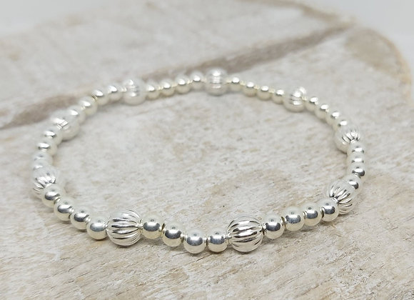Benny&Moo mixed texture beaded sterling silver bracelet