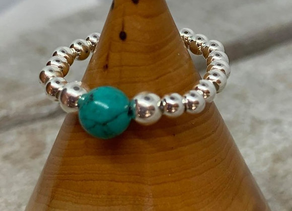 Sterling silver beaded ring with turquoise focal bead