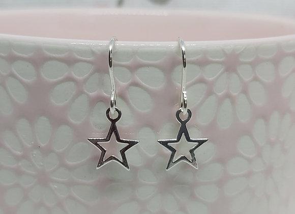 Open Star Drop Earrings in Sterling Silver