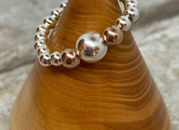 Sterling silver and rose gold beaded ring