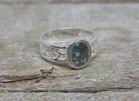 Sterling Silver Cremation ashes filagree band ring
