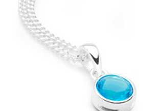 Birthstone Pendant on Sterling Silver curb chain