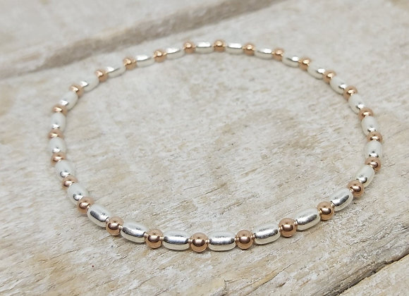 Benny&Moo seed and mixed rose gold round beads bracelet
