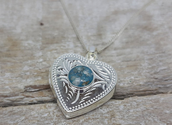 Sterling Silver Cremation Heart shaped Locket Pendant