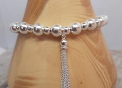 Sterling silver beaded bracelet with silver tassel