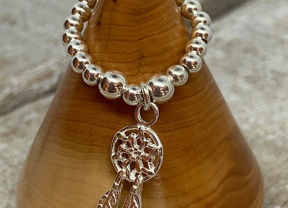 Sterling silver beaded ring with dreamcatcher charm