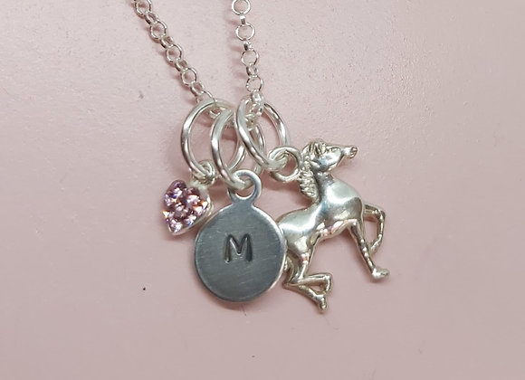 Triple Horse, Heart and personalised initial charm necklace in Sterling Silver