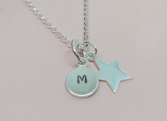 Personalised Initial and Star necklace in Sterling Silver