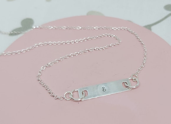Initial bar necklace in Sterling Silver
