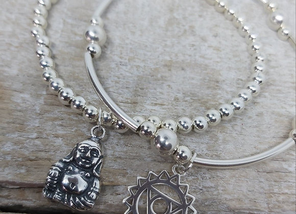 Benny&Moo double stacking set. Buddha and Throat Chakra charms