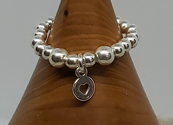 Sterling silver beaded ring with open heart charm