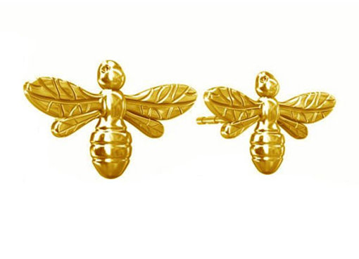 Manchester Bee Stud Earrings in Gold