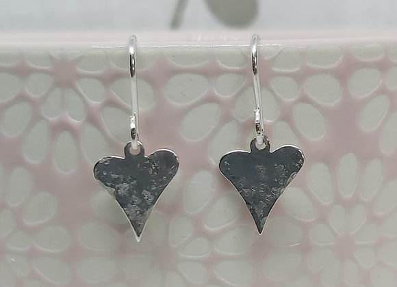 Hammered Textured Quirky Heart Drop Earrings in Sterling Silver