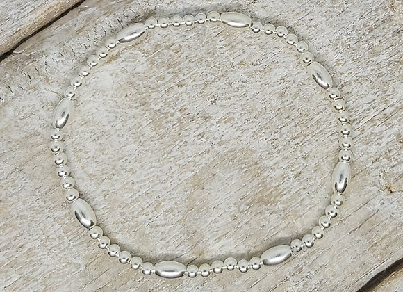 Benny&Moo seed and 3mm beads sterling silver bracelet