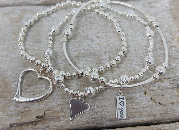Benny&Moo 'Love' sterling silver triple stacking set
