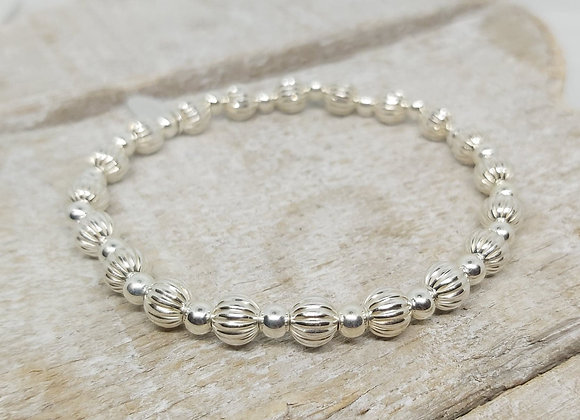Benny&Moo 5mm textured with 4mm beads sterling silver bracelet