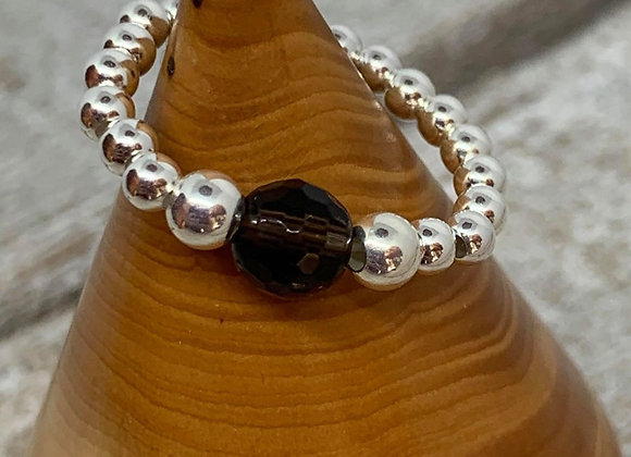 Sterling silver beaded ring with quartz focal bead