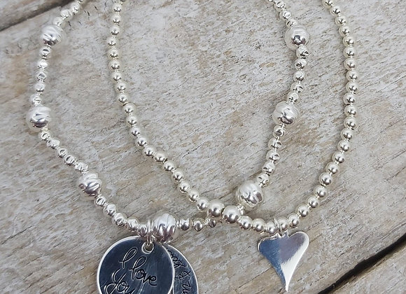 Benny&Moo double stacking set. Heart and Love you to the moon charms