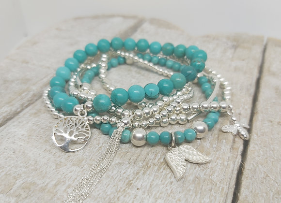 Sterling silver and turquoise six beaded bracelet stacking set