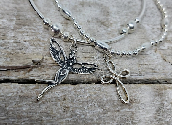 Benny&Moo double stacking set. Infinity Cross and  and antique angel bracelets
